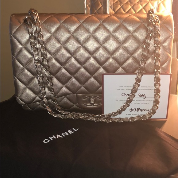 CHANEL Bags   Auth Quilted Metallic Lambskin Maxidbl Flap   Poshmark 9af5526346